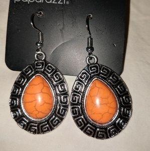 Orange dangle earrings and orange beaded Bracelet.